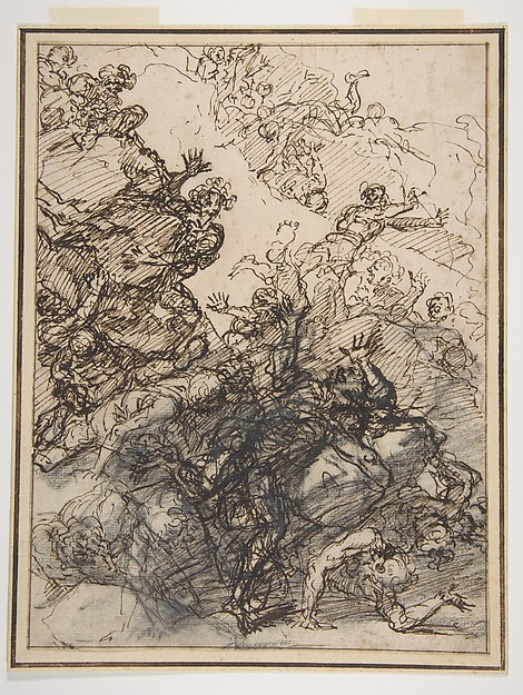 The Fall of the Giants, Salvator Rosa (Italian, Arenella (Naples) 1615–1673 Rome), Pen and brown ink, over charcoal