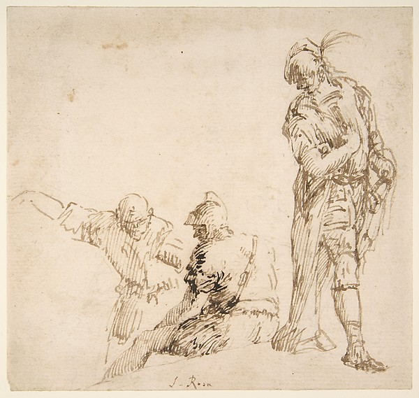 Figure studies: seated and standing men, Traditionally attributed Salvator Rosa (Italian, Arenella (Naples) 1615–1673 Rome), Pen and brown ink, over traces of black chalk