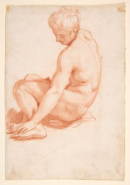 Seated Male Nude, Francesco Salviati (Francesco de' Rossi) (Italian, Florence 1510–1563 Rome), Red chalk