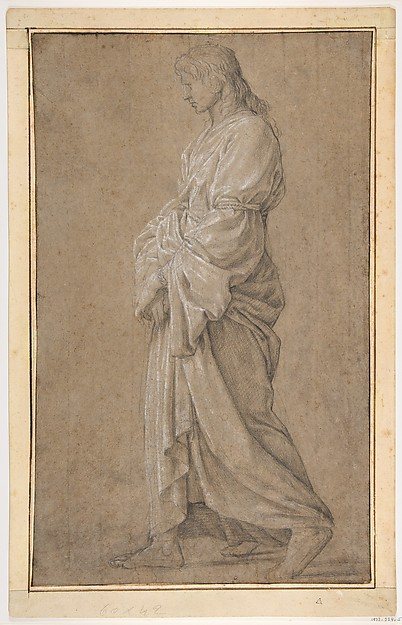 Study for Saint Gervasius, Eustache Le Sueur (French, Paris 1616–1655 Paris), Black chalk heightened with white chalk, on gray-beige paper. Framing lines in pen and brown ink.