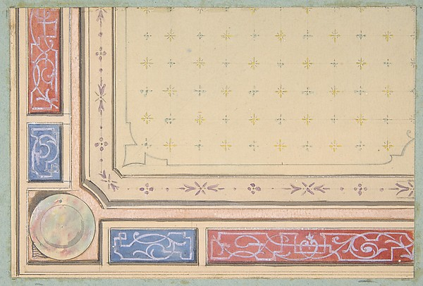 Design for a ceiling, Jules-Edmond-Charles Lachaise (French, died 1897), Graphite, pen and black ink, gouache, and watercolor