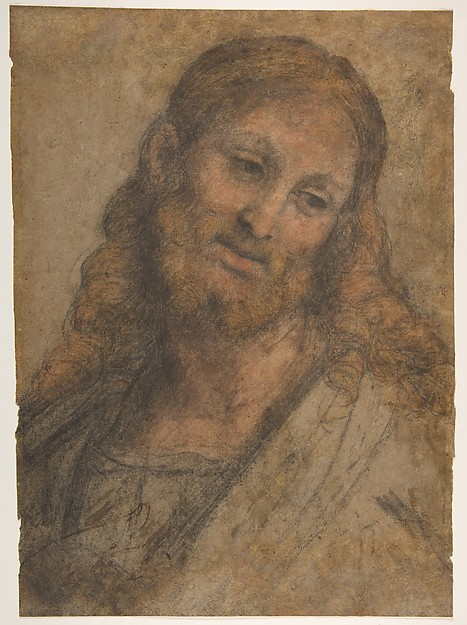 Bust of a Bearded Figure, Andrea Solario (Italian, Milan ca. 1465–1524 Milan), Black, red, and ochre chalk on light brown paper (with later, substantive reintegration of the support and drawing surface along the right edges and upper portions of the sheet; detached from canvas support in 1958)