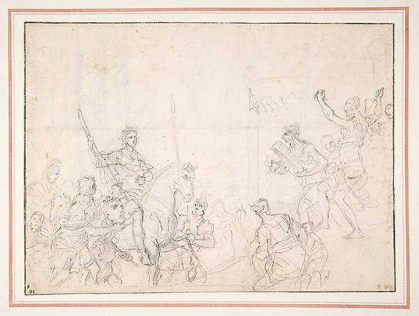 The Triumph of David, Francesco Solimena (Italian, Canale di Serino 1657–1747 Barra), Black chalk (recto); design for a door or window frame (verso)