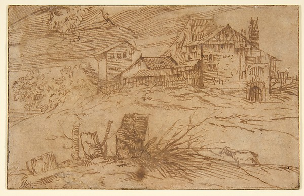 Landscape with a Goat, Titian (Tiziano Vecellio) (Italian, Pieve di Cadore ca. 1485/90?–1576 Venice), Pen and brown ink