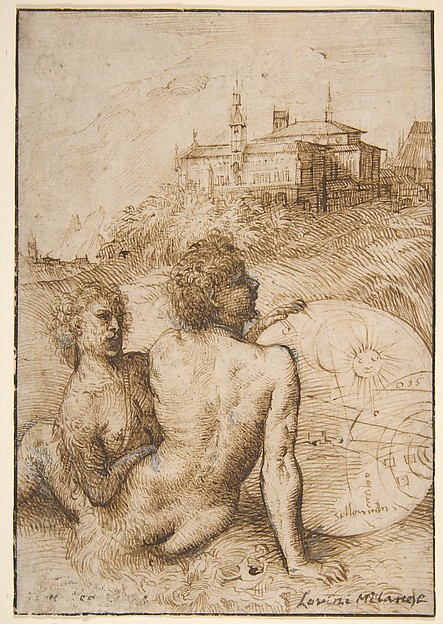 Two Satyrs in a Landscape, Titian (Tiziano Vecellio) (Italian, Pieve di Cadore ca. 1485/90?–1576 Venice), Pen and brown ink, highlighted with white gouache on fine, off-white laid paper