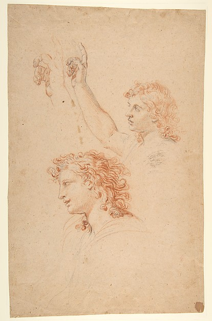Nicolas Mignard | Studies for the Archangel Gabriel (recto and verso ...
