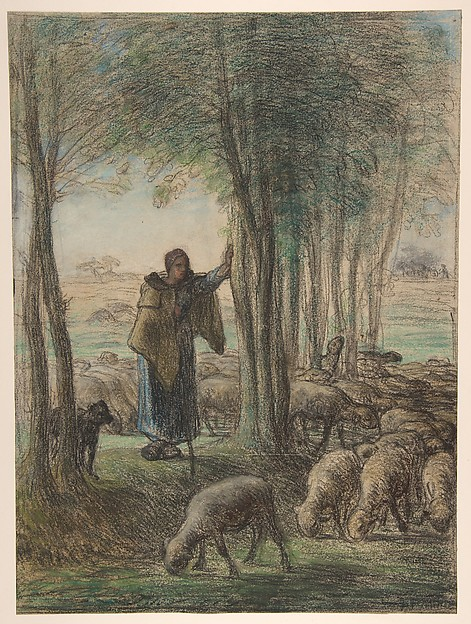 A Shepherdess and Her Flock in the Shade of Trees, Jean-François Millet (French, Gruchy 1814–1875 Barbizon), Conté crayon and pastel on laid paper