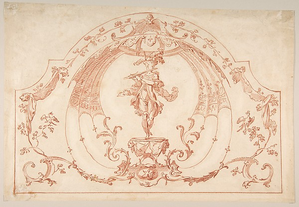 Design for Ornament with a Flutist (recto); Design for molding (verso), Gilles-Marie Oppenord (French, Paris 1672–1742 Paris), Red chalk (recto); black chalk (verso)