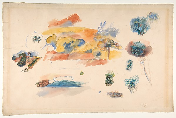 Studies of Landscape, Trees, and Exotic Fruit, Auguste Renoir (French, Limoges 1841–1919 Cagnes-sur-Mer), Watercolor and ink over graphite