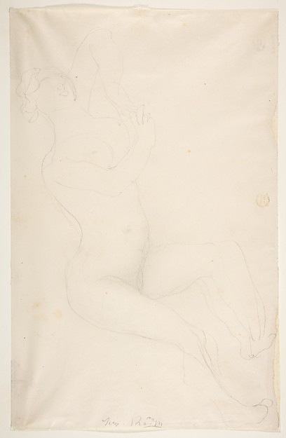 Reclining nude female figure, Auguste Rodin (French, Paris 1840–1917 Meudon), Graphite