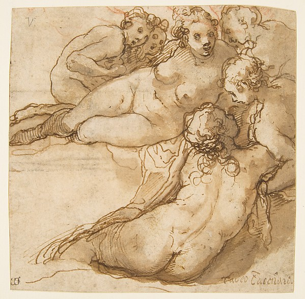Group of Six Reclining Nude Women (Nymphs Bathing) (recto); Sketch of a Leg (verso), Taddeo Zuccaro (Italian, Sant'Angelo in Vado 1529–1566 Rome), Pen and brown ink, brush and brown wash, traces of red chalk (recto), red chalk (verso)