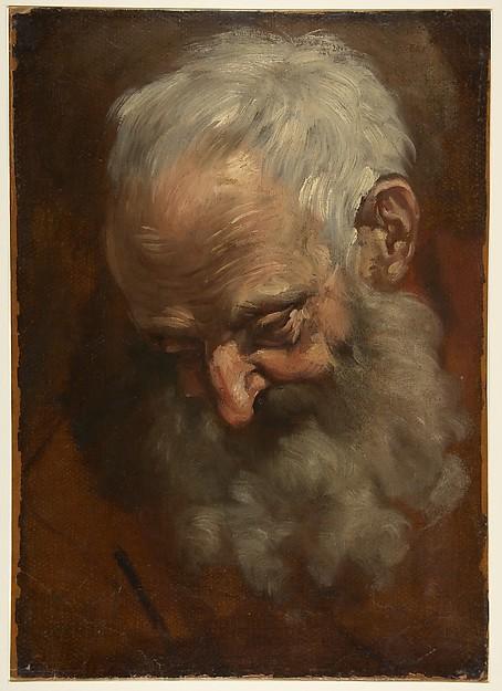 Head of a Bearded Man (Nicodemus), Giacomo Cavedone (Italian, Sassuolo 1577–1660 Bologna), Oil paint on paper
