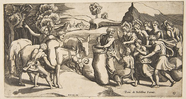 Joseph's cup being discovered in Benjamin's sack of grain, Monogrammist PVO (active ca. 1580–90), Engraving
