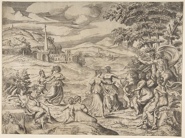 Mercury at the right telling the story of Pan and Syrinx, Giulio Bonasone (Italian, active Rome and Bologna, 1531–after 1576), Engraving with etching