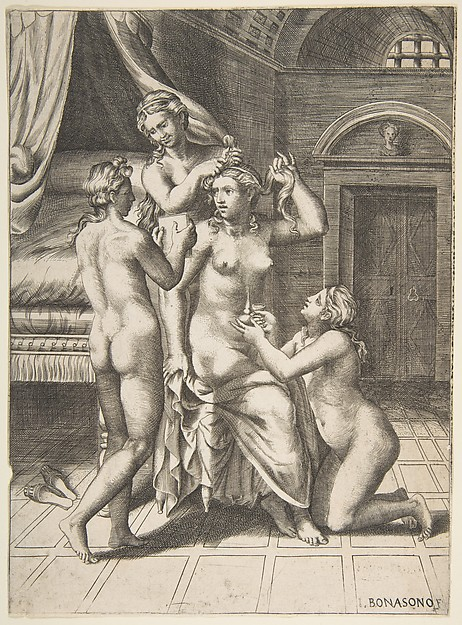The toilet of Psyche who is seated in the centre being attended to, Giulio Bonasone (Italian, active Rome and Bologna, 1531–after 1576), Engraving