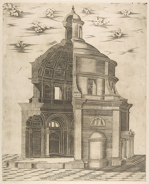 Exterior and interior section of a temple in Rome dedicated to Neptune, Giulio Bonasone (Italian, active Rome and Bologna, 1531–after 1576), Engraving