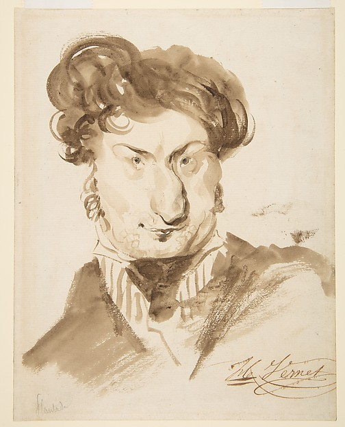 Caricature of Charles-Henri Plantade (?), Horace Vernet (French, Paris 1789–1863 Paris), Pen and brown ink, brush and wash and black chalk
