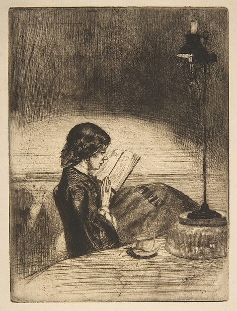 Reading by Lamplight, James McNeill Whistler (American, Lowell, Massachusetts 1834–1903 London), Etching and drypoint; third state of three (Glasgow); black ink on fine off-white antique laid paper