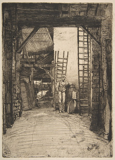The Lime-Burner (W. Jones, Lime-Burner, Thames Street), James McNeill Whistler (American, Lowell, Massachusetts 1834–1903 London), Etching and drypoint; first state of two (Glasgow); warm black ink on ivory wove paper