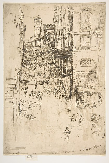 The Rialto, James McNeill Whistler (American, Lowell, Massachusetts 1834–1903 London), Etching and drypoint; first state of three (Glasgow); printed in black ink on medium weight ivory laid paper