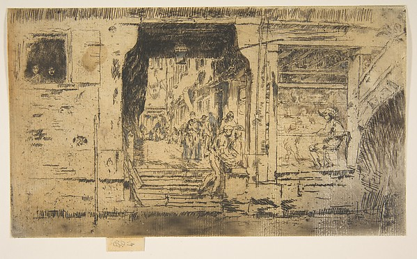 Fish Shop, Venice, James McNeill Whistler (American, Lowell, Massachusetts 1834–1903 London), Etching and drypoint; fifth state of nine ( Glasgow)  with extensive pencil alterations on shop, street, arch and figures (brown wash in the window, blue/grey on figures in street), and pen at top and right; printed in dark brown ink on medium weight buff laid paper