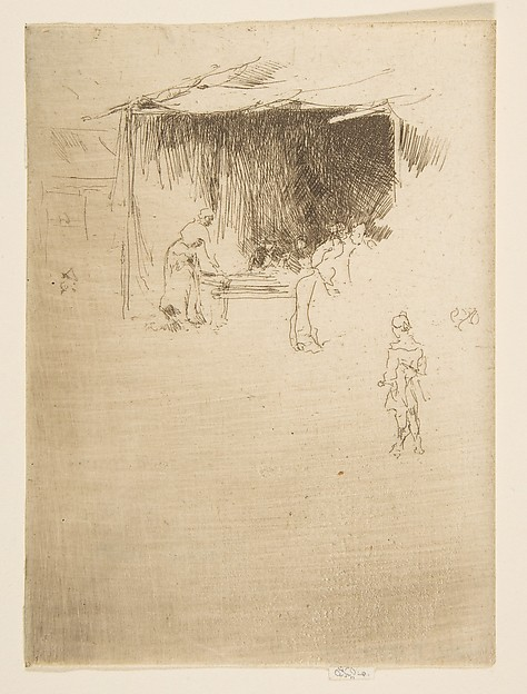 Booth at a Fair, James McNeill Whistler (American, Lowell, Massachusetts 1834–1903 London), Etching and drypoint; only state (Glasgow); printed in very dark brown ink on ivory laid paper