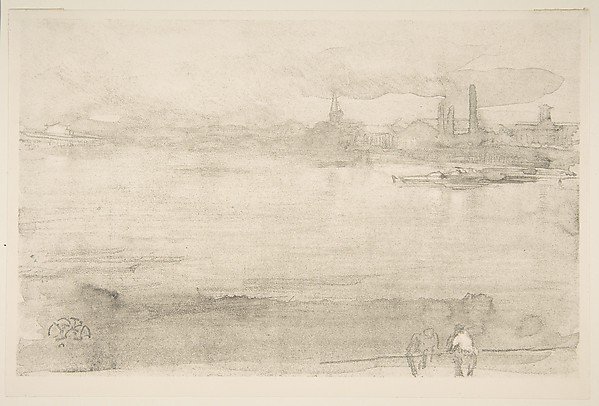 Early Morning, James McNeill Whistler (American, Lowell, Massachusetts 1834–1903 London), Lithotint with scraping, on a prepared half-tint ground; third state of four (Chicago); printed in black ink on cream wove paper