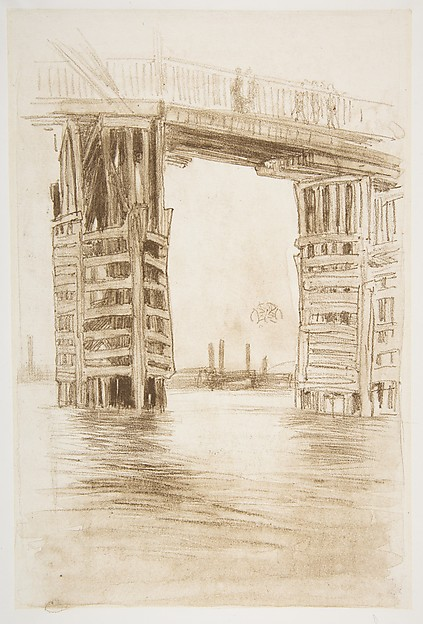 The Tall Bridge, James McNeill Whistler (American, Lowell, Massachusetts 1834–1903 London), Lithotint with scraping, first state of two (Chicago), printed in brown ink on Japanese paper mounted on off-white plate paper