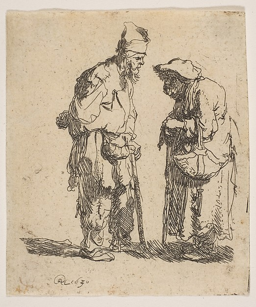 Beggar Man and Beggar Woman Conversing, Rembrandt (Rembrandt van Rijn) (Dutch, Leiden 1606–1669 Amsterdam), Etching; New Holl. second state of three