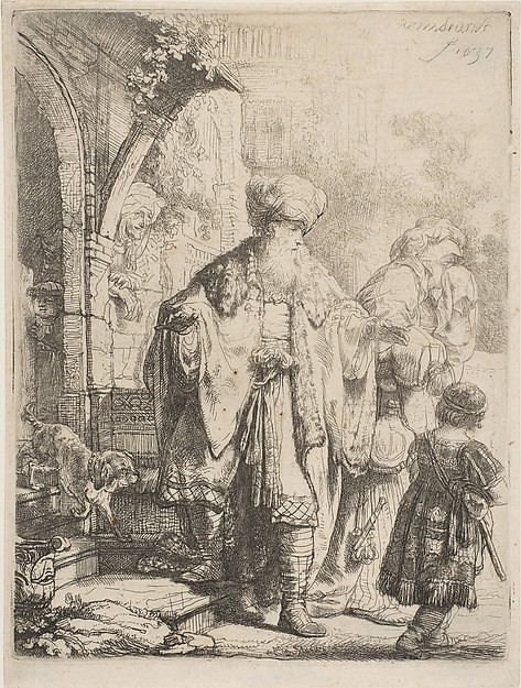 Abraham Casting out Hagar and Ishmael, Rembrandt (Rembrandt van Rijn) (Dutch, Leiden 1606–1669 Amsterdam), Etching with touches of drypoint