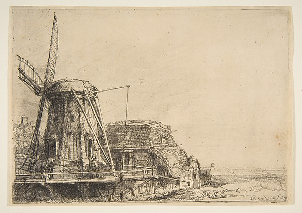The Windmill, Rembrandt (Rembrandt van Rijn) (Dutch, Leiden 1606–1669 Amsterdam), Etching, with touches of drypoint