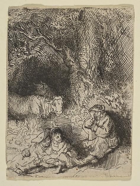 The Sleeping Herdsman, Rembrandt (Rembrandt van Rijn) (Dutch, Leiden 1606–1669 Amsterdam), Etching and drypoint