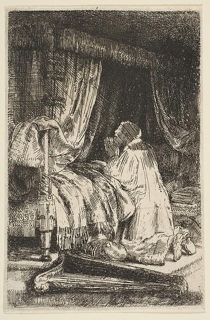 David in Prayer, Rembrandt (Rembrandt van Rijn) (Dutch, Leiden 1606–1669 Amsterdam), Etching and drypoint