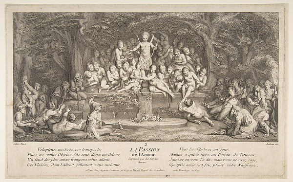The Passion for Love, Claude Gillot (French, Langres 1673–1722 Paris), Etching, second state