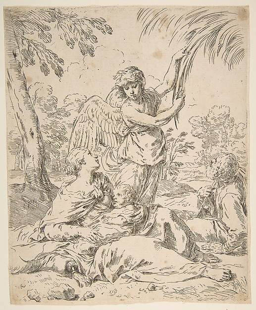 Repose in Egypt, Mary nursing the infant Christ while an angel pulls at tree branches, Simone Cantarini (Italian, Pesaro 1612–1648 Verona), Etching