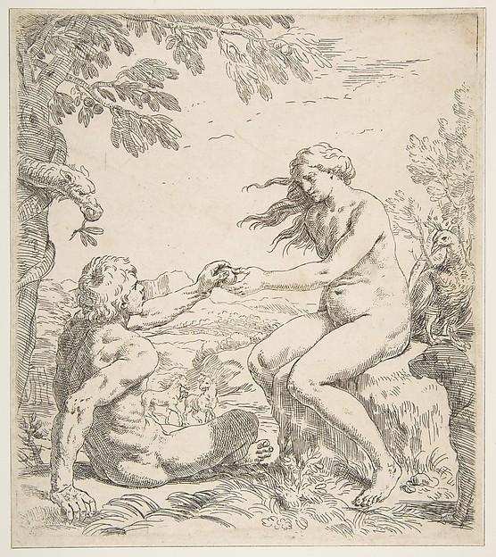 Adam and Eve, Simone Cantarini (Italian, Pesaro 1612–1648 Verona), Etching