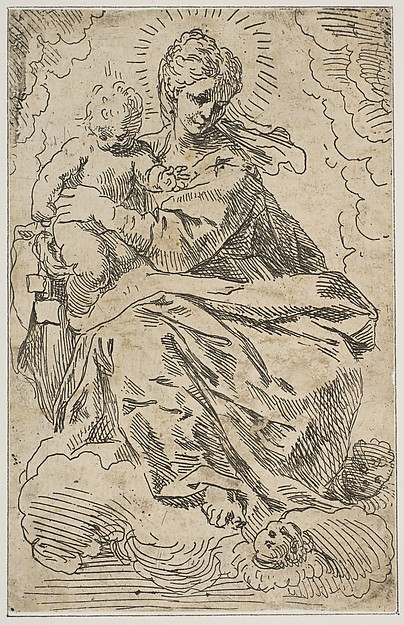 Madonna and Child on clouds, Attributed to Simone Cantarini (Italian, Pesaro 1612–1648 Verona), Etching