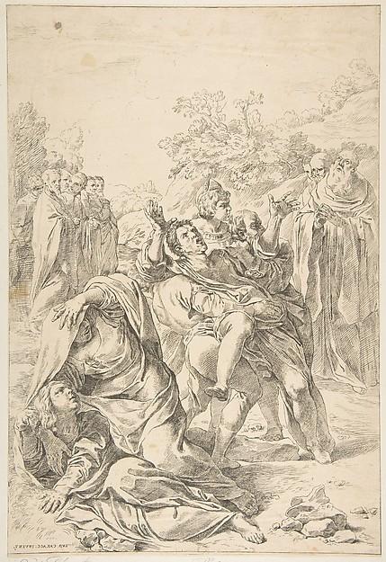 Saint Benedict exorcising a demon, Etched by Simone Cantarini (Italian, Pesaro 1612–1648 Verona), Etching