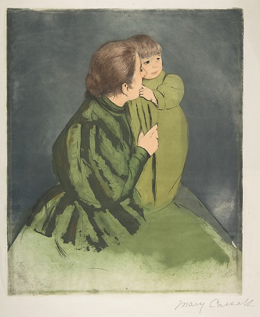 Peasant Mother and Child, Mary Cassatt (American, Pittsburgh, Pennsylvania 1844–1926 Le Mesnil-Théribus, Oise), Drypoint and aquatint, printed in color from three plates; tenth state of ten