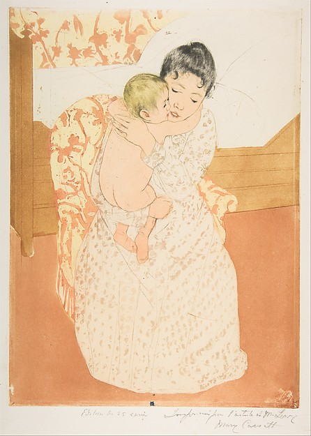 Maternal Caress, Mary Cassatt (American, Pittsburgh, Pennsylvania 1844–1926 Le Mesnil-Théribus, Oise), Drypoint, aquatint and softground etching, printed in color from three plates; sixth state of six (Mathews & Shapiro)