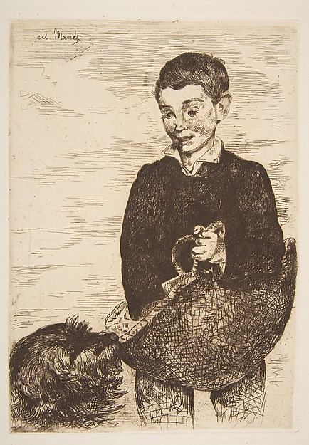 The Urchin, Édouard Manet (French, Paris 1832–1883 Paris), Etching, final state (II) in brown ink on laid white paper, from the Strölin edition of 1905