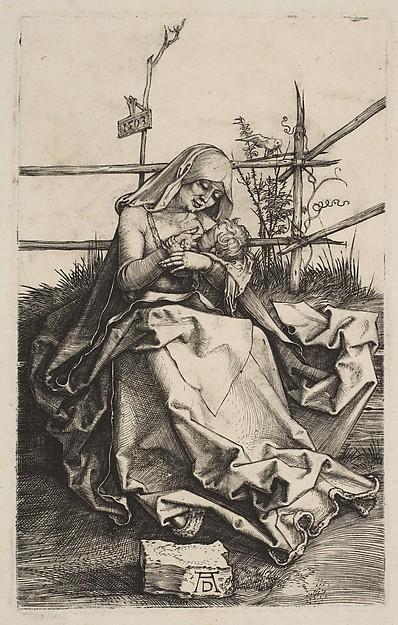 Virgin and Child on a Grassy Bench, Albrecht Dürer (German, Nuremberg 1471–1528 Nuremberg), Engraving