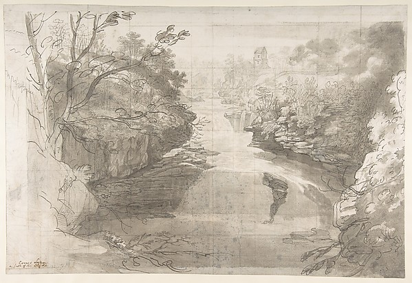 Corra Linn, the Falls of the Clyde, Joseph Farington (British, Lancashire 1747–1821 Lancashire), Pen and ink, and brush and wash, over graphite