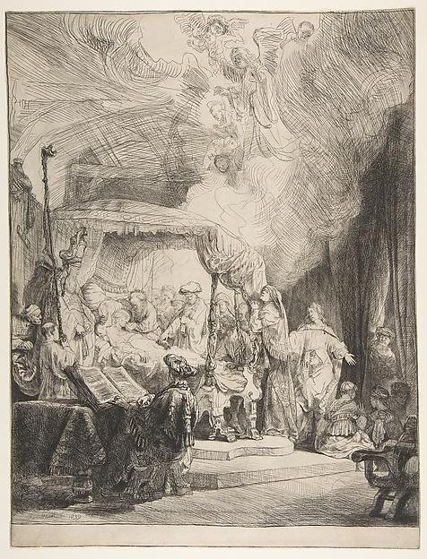 The Death of the Virgin, Rembrandt (Rembrandt van Rijn) (Dutch, Leiden 1606–1669 Amsterdam), Etching and drypoint