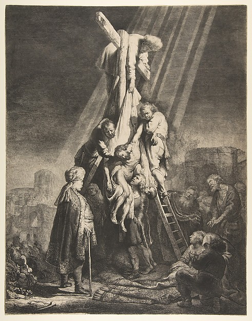 Descent from the Cross, Rembrandt (Rembrandt van Rijn) (Dutch, Leiden 1606–1669 Amsterdam), Etching and burin