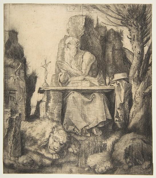 Saint Jerome by the Pollard Willow, Albrecht Dürer (German, Nuremberg 1471–1528 Nuremberg), Drypoint