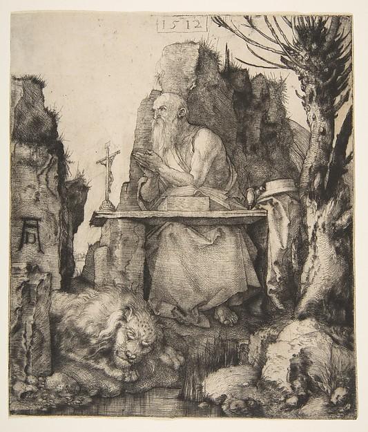 Saint Jerome by the Pollard Willow, Albrecht Dürer (German, Nuremberg 1471–1528 Nuremberg), Drypoint; second state of three