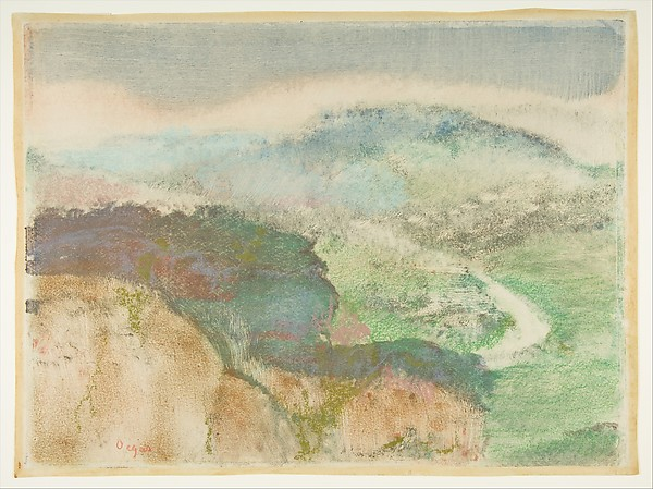 Landscape, Edgar Degas (French, Paris 1834–1917 Paris), Monotype in oil colors, heightened with pastel