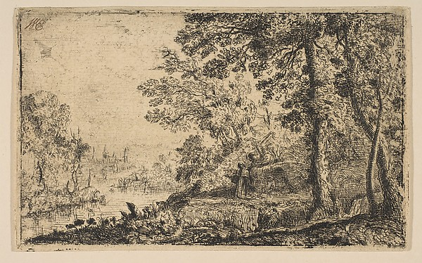 The Vision, Claude Lorrain (Claude Gellée) (French, Chamagne 1604/5?–1682 Rome), Etching; first state of five (Mannocci)