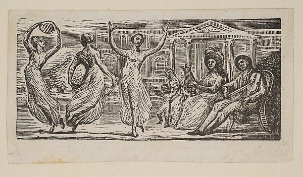 Menalcus Watching Women Dance, from Thornton's Pastorals of Virgil, William Blake (British, London 1757–1827 London), Wood engraving